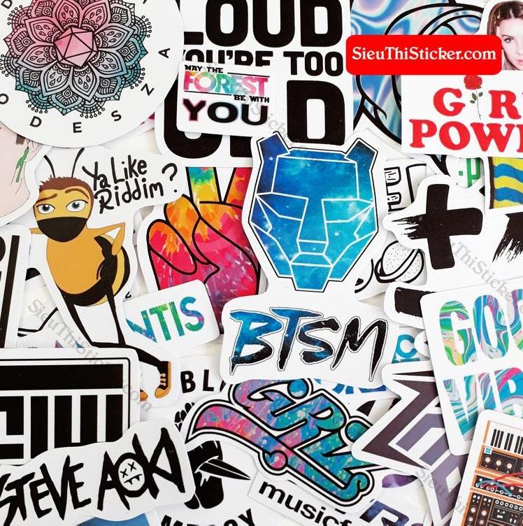 sticker nhạc điện tử trang trí laptop xe máy