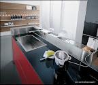 valcucine, cucina in vetro mod.artematica vitrum rossa, con isola con canale atrezzato, con miscelatore a muro e prese elettriche
