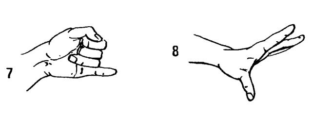 7 Разгибать и сгибать отдельно каждый палец. 8 Положив кисти на стол, поочередно поднимать по одному пальцу.