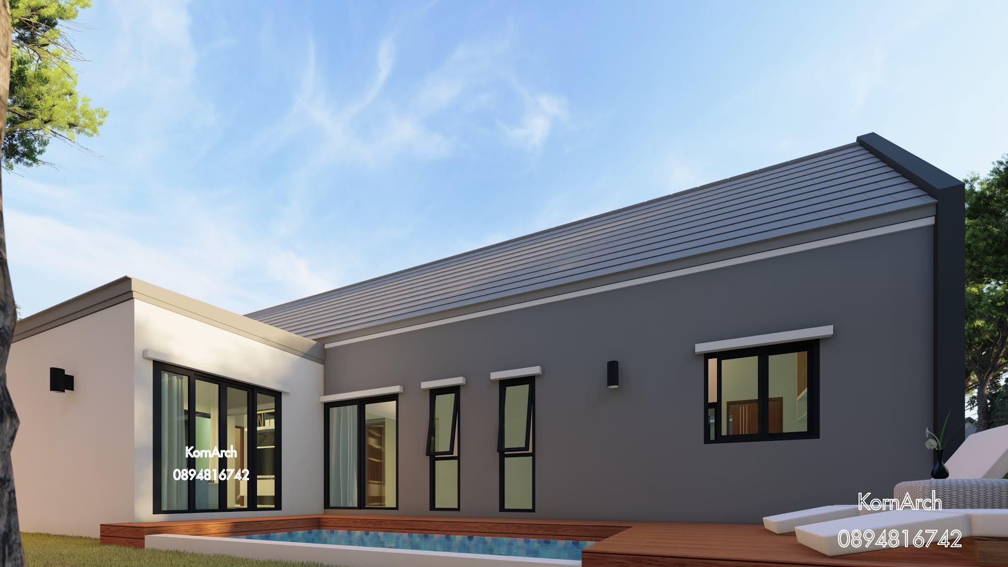 แบบบ้านพร้อมสระว่ายน้ำ,PoolVilla,แบบบ้านชั้นเดียว,รีสอร์ท