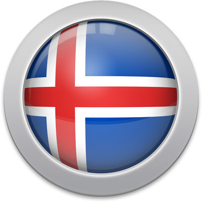 Icelandic flag icon with a silver frame