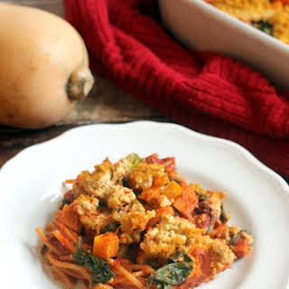 Fall Vegetable Baked Spaghetti with Pumpkin Tofu Ricotta.