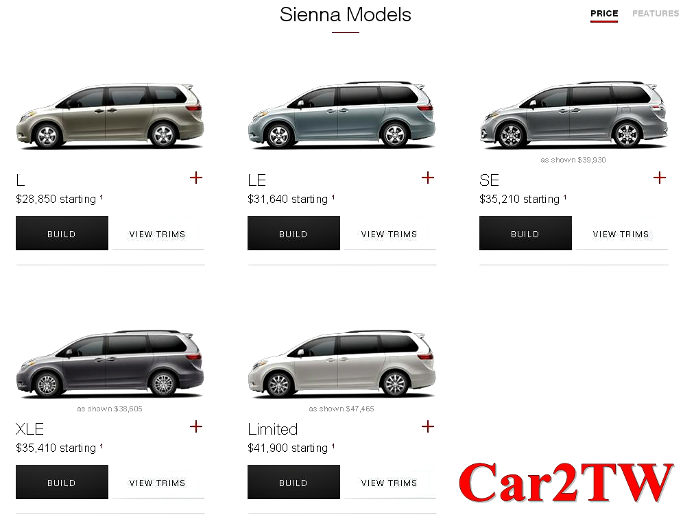 豐田汽車Toyota Sienna新車售價及中古車新古車價格