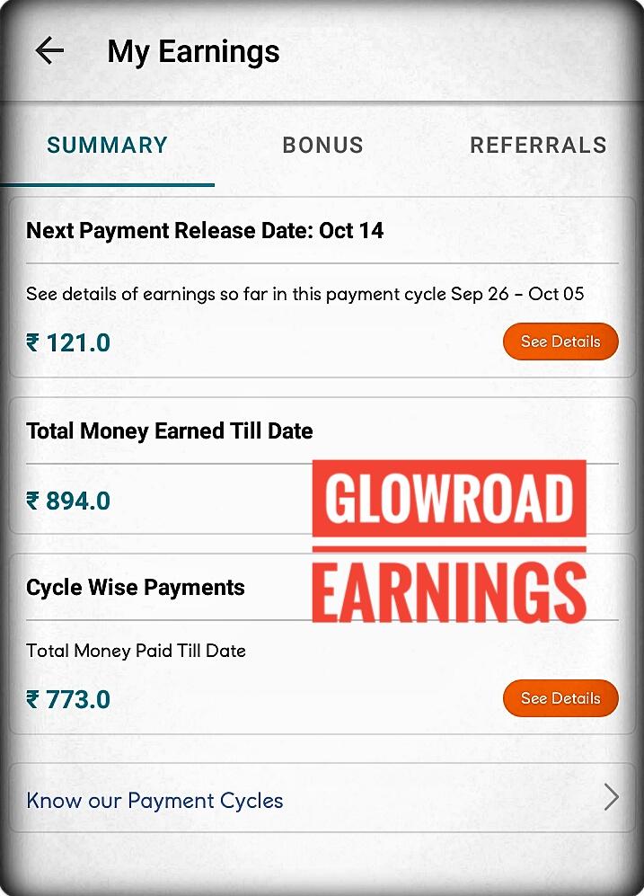 GlowRoad App Earning