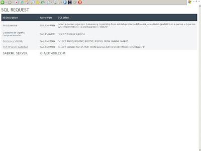 SABXML mostrando relación de peticiones SQL admitidas