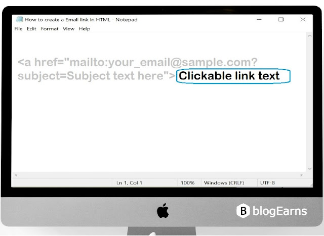 how to create an email link in HTML - step6