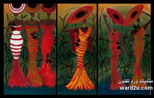 زخارف افريقيه وزهور فى لوحات الفنانه Narine Aghakhanyan