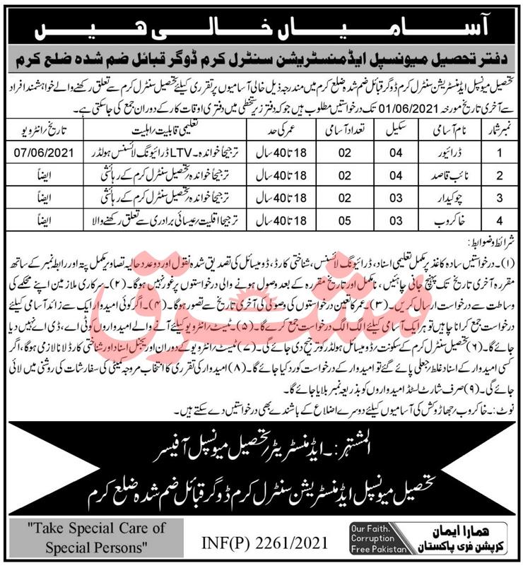 KPK Tehsil Municipal Administration Office Jobs May 2021