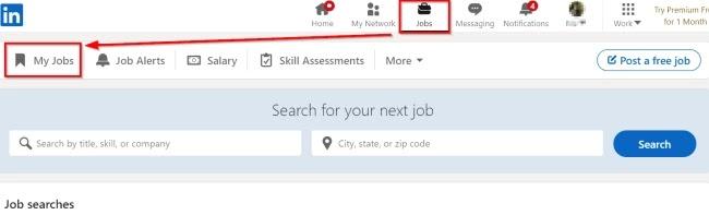 Open LinkedIn Saved Jobs