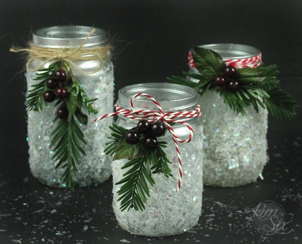 Glittered Iced frosted Candle Holders