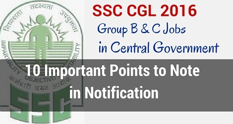 SSC CGL Notification Points