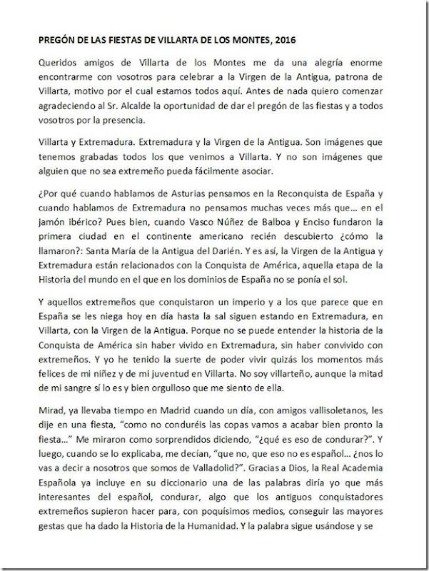 Pregón fiestas Villarta de los Montes 2016 - 1