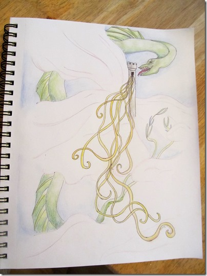 Mary's sketch of rapunzel and a dragon