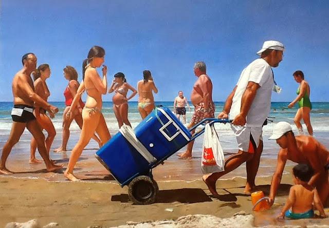 La playa,pintura de Manjarrés