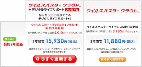 ウイルスバスタークラウド 3年 3台版更新で11,800円