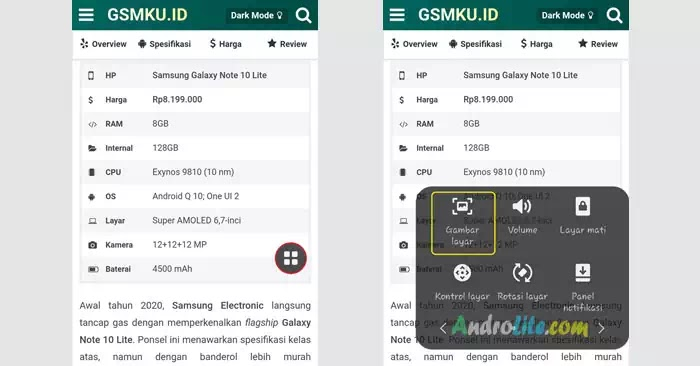 Screenshot Samsung Galaxy M11 / M21 Menu Asisten
