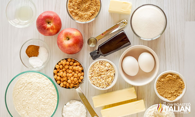 ingredients for Apple Cookies with Streusel Topping