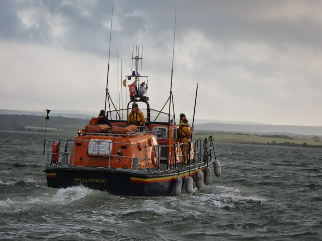 Poole ALB heading off to retrieve a casualty from the water during a training exercise - 22 April 2014 Photo: RNLI Poole/Anne Millman