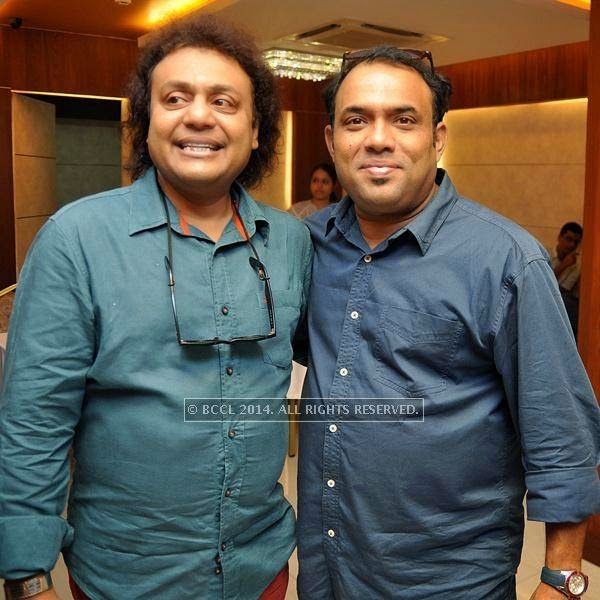 Tanmoy Bose and Raghab during the launch of Kolkata Diaries, held at Imperio.<br />