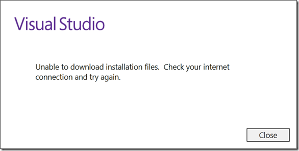 Unable to download install files