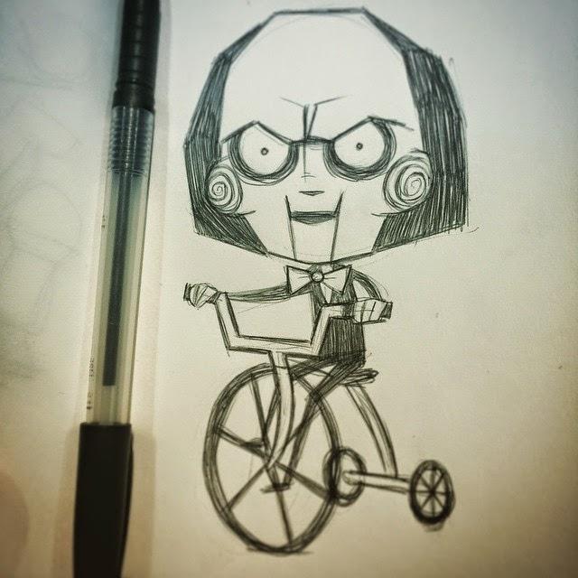jigsaw sketch, horror movie artwork, horror movie art killer, scary movie killer art, akumuink sketch