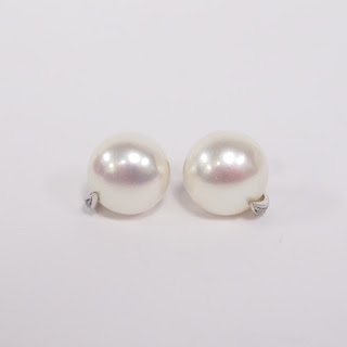 14K White Gold, Diamond, and Pearl Earrings