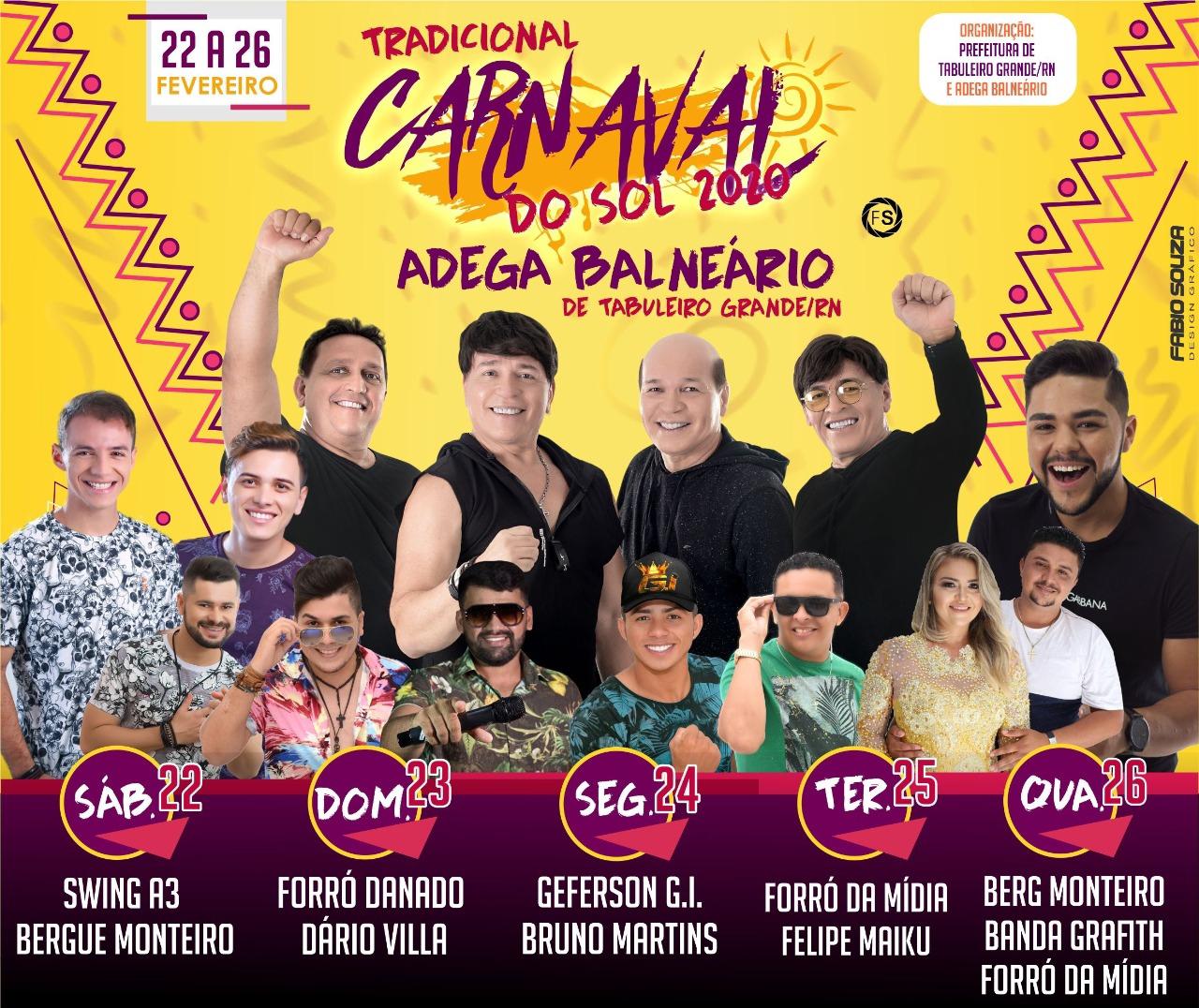 Começa sábado, dia 22 de fevereiro, o Carnaval do Sol em Taboleiro Grande/RN