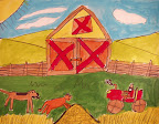Acrylic Farm Painting by Ketie