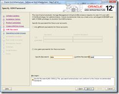 Oracle Grid Infrastructure 12c Installer - Specify ASM Password