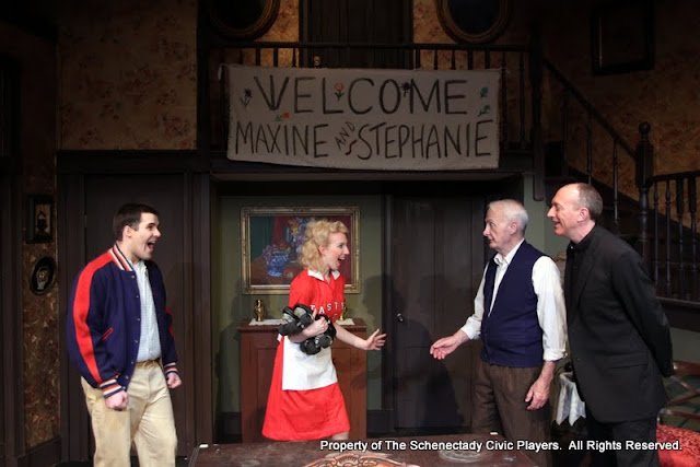 Ryan Davis, Meigg Jupin, Phil Sheehan and Mark Stephens in LEADING LADIES - October 2011.  Property of The Schenectady Civic Players Theater Archive.