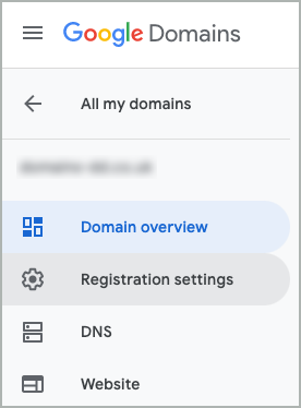 From the Menu, Registration settings is selected.