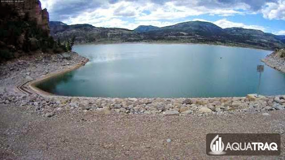 Webcam capture of me canoeing in Joe's Valley Reservoir (the small black speck on the water is me)
