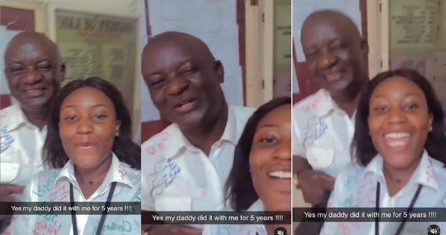 """""""Dad did it with me 5 years, Dad and I are barristers """" – Excited Nigerian Lady says as herself and her father complete their final University exams (Video)"""