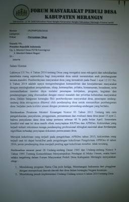 Terkait Pendamping Desa, FMPD Merangin Layangkan Surat ke Presiden Jokowi