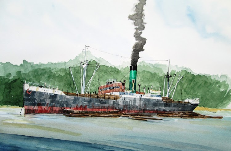 Esta ilustración muestra al SOCOGUI en algun lugar de la Guinea Ecuatorial. Las trozas flotando al costado eran izadas a bordo y estibadas. Acuarela del Ilustrador de Barcos.JPG