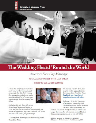 book by Michael McConnell with Jack Baker The Wedding Heard 'Round the World, America's First Gay Marriage,' University of Minnesota Press, Jan. 2016