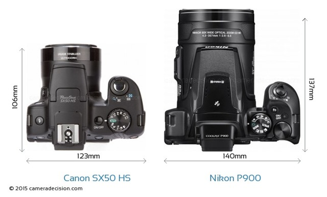 Canon-PowerShot-SX50-HS-vs-Nikon-Coolpix-P900-top-view-size-comparison