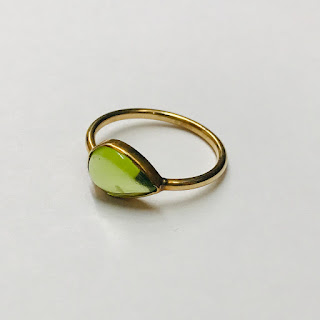 14K Gold & Green Stone Ring