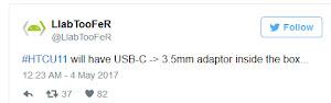 HTC U 11 sẽ không có cổng 3.5mm nhưng được tặng kèm adapter