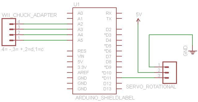 wiichuck servo control schematic