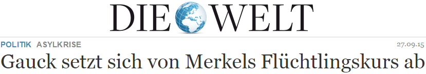 Gauck setzt sich von Merkels Flüchtlingskurs ab