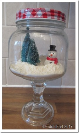 Christmas Scene in Stemmed Jar
