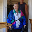 Randy with Lenore Bern, trying out porch and ramp he built for her.