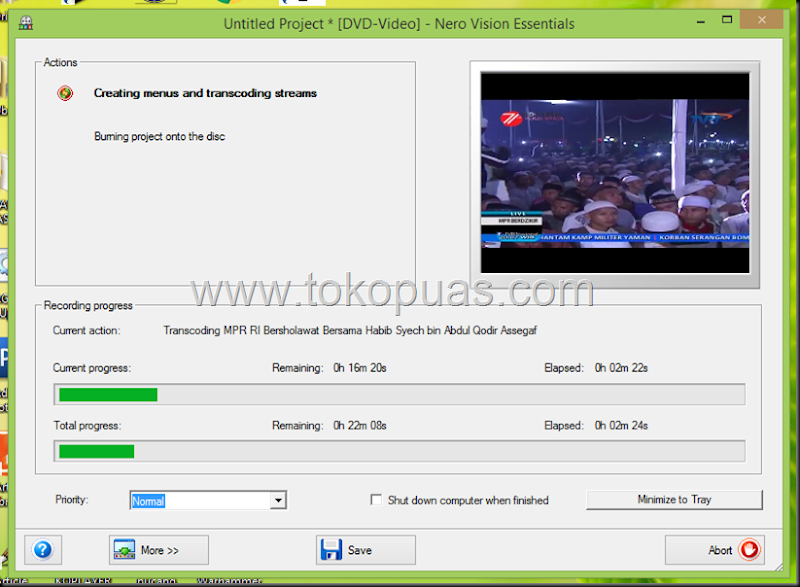 cara burning dvd di video player