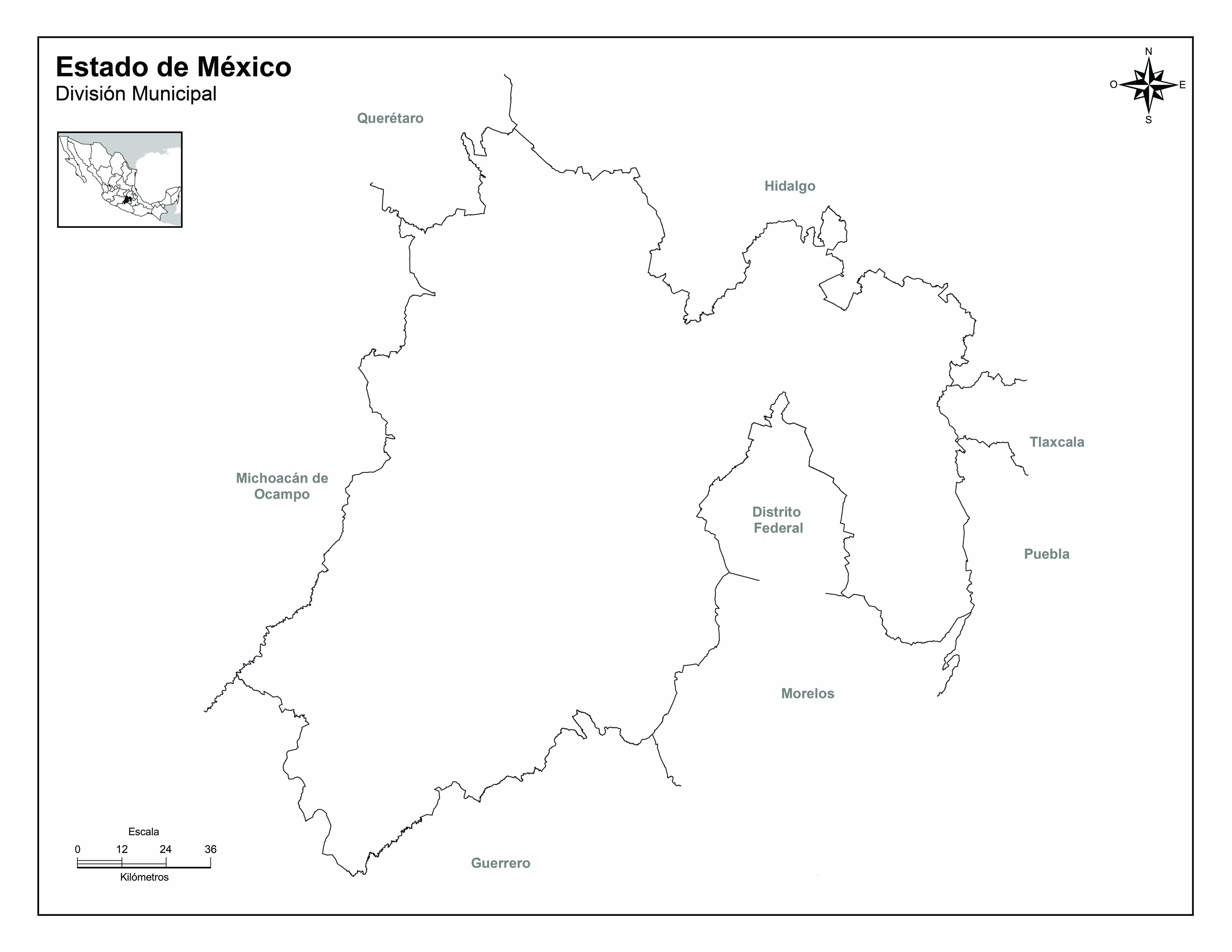 mapa del estado de mexico para dibujar