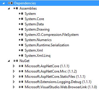 """Carpeta """"Dependencies"""" de un proyecto targeting .NET framework en el explorador de soluciones de Visual Studio"""
