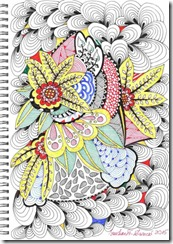 382 Zentangle Red Flowers