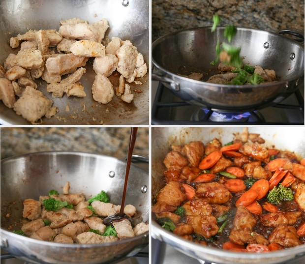 process photo collage showing how to cook the crazy cuizine teriyaki chicken