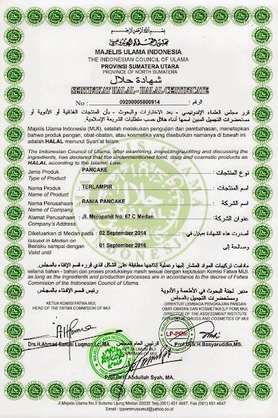 sertifikasi halal pancake durian asli medan