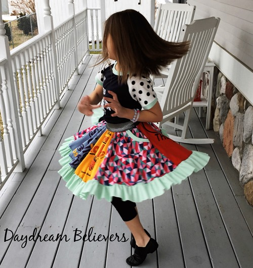 Upcycle school sports theater club tee shirts into a girls skirt dress on daydream believers designs